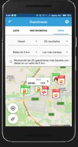 captura de pantalla del comparador de gasolineras de Parkifast en Aranda de Duero