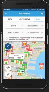 Captura de pantalla del comparador de gasolineras de Parkifast en Santander