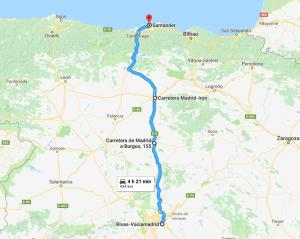 Ruta de viaje entre Rivas Vaciamadrid y Santander para el comparador de gasolineras Parkifast